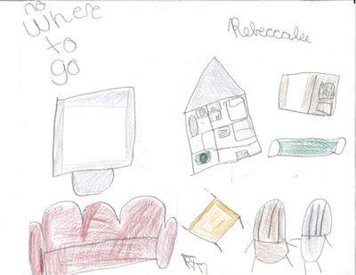 drawing by9-yr-old girl of her family's furniture on the lawn after eviction from Safe Harbor